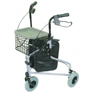 Aidapt Lightweight Tri Walker With Bag and Basket in Silver