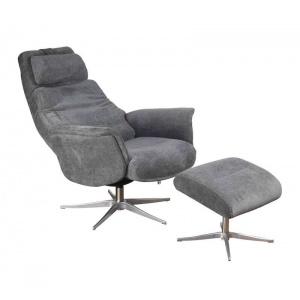 Albury Swivel Recliner & Footstool Grey