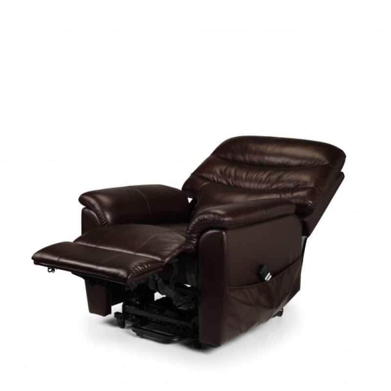 Pullman Leather Dual Motor Riser Recliner Reclined