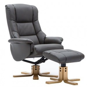 Florence Swivel Recliner & Footstool Charcoal