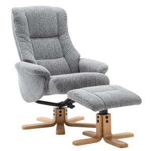 Florida Swivel Recliner With Footstool Lake Blue